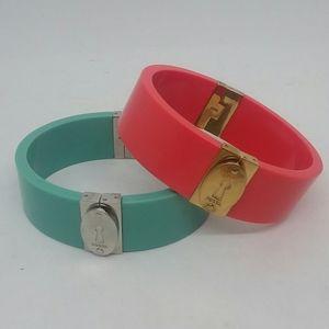 2-Pc Fossil Keyhole Bracelet Set